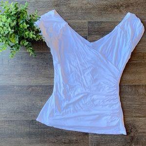 WHBM ruched wrap shirt